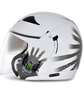 Vega Ellipse half with visor helmet White base colour Monster Army graphic