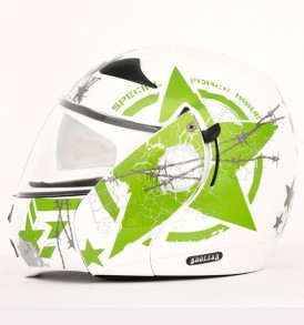 Boolean Navy White Base With Green Graphic Helmet