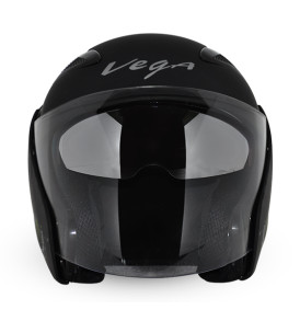 Vega Eclipse half helmet ,Dull Black Monster Army Red Graphic with visor Helmet