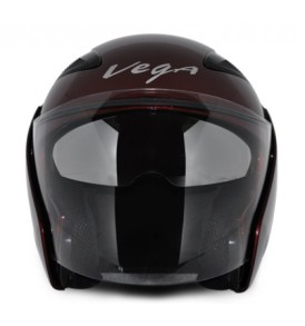 Vega Half Helmet ,Eclipse Burgundy colour  with visor Helmet