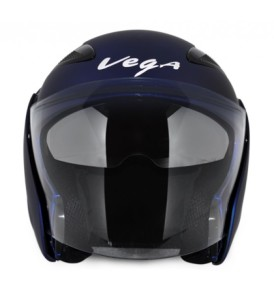 Vega Eclipse half Dull Blue Helmet with visor