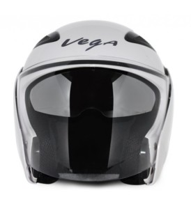 Vega Eclipse Half glossy White Helmet with visor