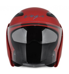Vega Eclipse half Dull Red Helmet with visor
