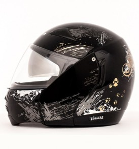 Boolean Give Up Black Base With Silver Graphic Helmet