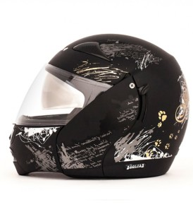 Boolean Give Up Dull Black Base With Silver Graphic Helmet