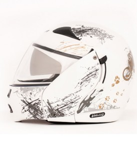 Boolean Give Up White Base With Silver Graphic Helmet