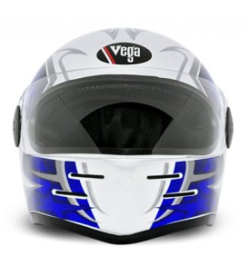Formula Hp Moto Craft White Base With Blue Graphic Helmet