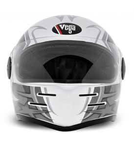 Formula Hp Moto Craft White Base With Silver Graphic Helmet