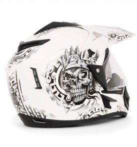 Off Road D/V Ranger White Base With Silver Graphic Helmet