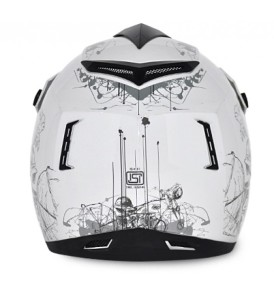 Off Road Sketch White Base With Silver Graphic Helmet