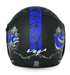 Boolean Escape Dull Black Base With Blue Graphic Helmet