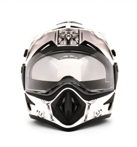 Off Road  Ranger White Base With Green Graphic Helmet