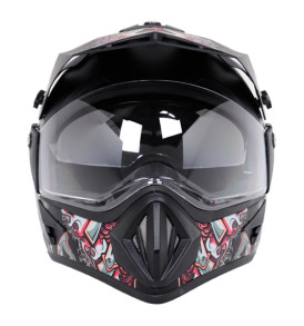 Off Road DullTrible Black Red Helmet