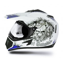 Off Road  Gangster White Blue Helmet
