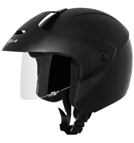 Vega half  Gloss Black Helmet With Peak Ridge